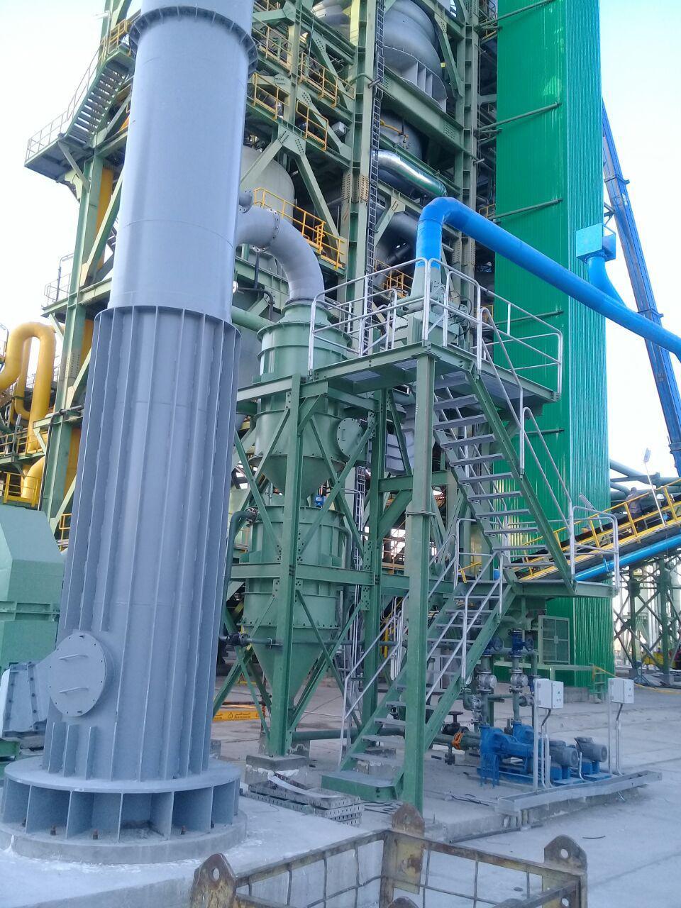 مونتاژ تجهیزات غبارگیر کوره مجتمع فولاد نی ریز شامل اسکرابر، فن سانتریفوژ